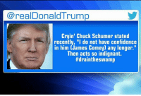 """Late Tuesday, President DonaldTrump fired off a tweet in response to Senator ChuckSchumer's earlier comments on the firing of JamesComey.: realDonald Trump  Cryin' Chuck Schumer stated  recently, """"I do not have confidence  in him (James Comey) any longer.""""  Then acts so indignant.  ttdraintheswamp Late Tuesday, President DonaldTrump fired off a tweet in response to Senator ChuckSchumer's earlier comments on the firing of JamesComey."""
