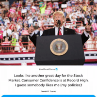 Confidence, Guess, and Record: @realDonaldTrump  Looks like another great day for the Stock  Market. Consumer Confidence is at Record High.  l guess somebody likes me (my policies)!  Donald 3. Trump Another GREAT day for the Stock Market. Consumer Confidence is at Record High!