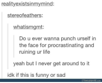 Get Around: realityexistsinmymind:  stereofeathers:  whatismgmt:  Do u ever wanna punch urself in  the face for procrastinating and  ruining ur life  yeah but lI never get around to it  idk if this is funny or sad  STRANGEBEAVER.com
