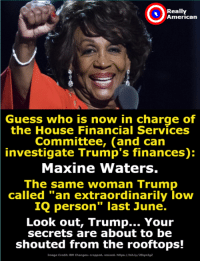 "American, Guess, and Help: Really  American  Guess who is now in charge of  the House Financial Services  Committee, (and can  investigate Trump's finances):  Maxine Waters.  The same woman Trump  called ""an extraordinarily loww  IQ person"" last June.  Look out, Trump... Your  secrets are about to be  shouted from the rooftops!  Image Credit: BM Changesi cropped, resized. httpsi//bit.ly/2DqmIgz Get him, Maxine!  Want to help take down Trump? Fight him with Really American Activists!"