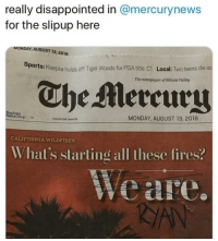 Disappointed, Memes, and Tiger Woods: really disappointed in @mercurynews  for the slipup here  MONDAY, AUGUST 13, 2018  ports: Koepka holds off Tiger Woods for PGA title. C1  Local: Two teens die as  The newspaper of Silicon Valley  The Mereury  MONDAY, AUGUST 13, 2018  Group111  Volume 168,issue 55  CALIFORNIA WILDFIRES  What's slarting all these fires?  Weare 🤣🤣 RYAN
