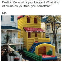 Memes, Budget, and House: Realtor: So what is your budget? What kind  of house do you think you can afford?  Me: