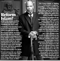 "Being Alone, Church, and Heaven: @RealVinniejames  The ""Cause of Allah"" is ""fighting  so that Islam is superior""  according to Muhammad. He said  to kill and be killed fighting to  make Islam superior is part of the  bargain every Muslim has made  with Allah, and that in return, they  receive Paradise (heaven).  Reform  Islam?  If Islam were to""reform"" in the  way Christianity did, and return to  a pure observance of its core  values, all Muslims would rise up  and fight non-Muslims with the  same vigor and regularity that  Muhammad did and like all the  caliphs did down through the last  1400 years. ISIS is a reformation.  people keep asking why Islam  can't reform in the same way  Christianity did. Here's why:  Christianity's core doctrine is love,  forgiveness and salvation by  GRACE through faith in Jesus  The Roman Catholic church had  strayed from that core doctrine  into one where worshippers were  being told they had to work or pay  money to be saved. The refo  worked to RETURN to the core  principles of love, forgiveness, and  salvation by grace alone through  faith alone, and not by payment o  penance. That is what the  Christian Reformation was about.  The ""Cause of Allah"" is the  essence of Islam. It exists for one  purpose, and that is to spread and  subjugate all others under Islam.  rmers  The word Islam MEANS  submission. Hundreds of verses in  the Quran are dedicated to this  goal. Any attempt to make Islam  co-exist with any other ideology  rather than dominate it is the very  moment Muhammad becomes a  false prophet. Devout Muslims  would blow up the world before  they'd allow Muhammad and  Allah to be made into liars.  In stark contrast, the core doctrine  of Islam is conquest of the entire  world and the subjugation of it  under Islam. That core doctrine is  known as the ""Cause of Allah.""  Vinnie James"