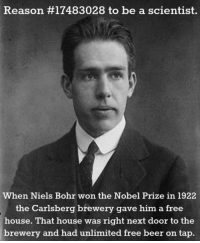 epicjohndoe:  Best Reason To Be A Scientist: Reason #17483028 to be a scientist.  When Niels Bohr won the Nobel Prize in 1922  the Carlsberg brewery gave him a free  house. That house was right next door to the  brewery and had unlimited free beer on tap. epicjohndoe:  Best Reason To Be A Scientist