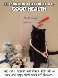 Cats, Doctor, and Memes: REASON BLACK CATS ROCK #4:  GOOD HEALTH  The Cat Doctor  Dr. Hallie- Grace  s3-media3  The extra melanin that makes their fur so  dark also helps them ward off diseases. Black cats are pawesome for so many reasons. Here's a great one!