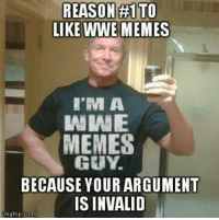 REASON TO  LIKE WWE MEMES  WWE  MEMES  GUY  BECAUSE YOUR ARGUMENT  IS INVALID  mgflip com CREDIT: Randy Hill