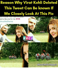 😂😂 rvcjinsta: Reason Why Virat Kohli Deleted  This Tweet Can Be known if  We Closely Look At This Pic  eems like one for me  AnushkaSharma  V CJ  www.RvCJ.COM  aNeechese Topper 😂😂 rvcjinsta