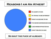 Memes, Shut the Fuck Up, and Atheist: REASONS I AM AN ATHEIST  I'M ANGRY AT GOD  I'M TRYING TO BE DIFFERENT  I WANT AN EXCUSE TO SIN  I'VE NEVER EXPERIENCED GOD  I LIKE WORSHIPPING SATAN  I DON'T BELIEVE IN GOD  SO SHUT THE FUCK UP ALREADY. Check out our secular apparel shop! http://wflatheism.spreadshirt.com/