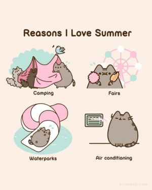 What's your favorite thing about summer? Tell us in the comments below! ☀️🏕️🐱🎪☀️: Reasons I Love Summer  Camping  Fairs  Air conditioning  Waterparks  PUSHEEN.COM What's your favorite thing about summer? Tell us in the comments below! ☀️🏕️🐱🎪☀️
