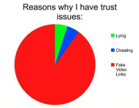 I Have Trust Issue: Reasons why I have trust  issues:  Lying  Cheating  Fake  Video  Links