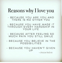 I Love You: Reasons why I love you  BECAUSE YOU ARE YOU AND  THERE IS NO OTHER YOU  BECAUSE YOU HAVE MADE IT  THROUGH EVERY HARDSHIP IN  YOUR LIFE  BECAUSE AFTER FEELING SO  MUCH PAIN YOU STILL SMILE  BECAUSE YOU BELIEVE IN THE  POSSIBILITIES  BECAUSE YOU HAVEN'T GIVEN  UP  - Jenna Galbut