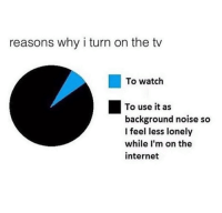 Internet, Watch, and The Internet: reasons why i turn on the tv  To watch  To use it as  background noise so  I feel less lonely  while I'm on the  internet