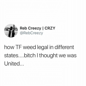 You have a good point sir. (credit & consent: @RebCreezy): Reb Creezy | CRZY  @RebCreezy  how TF weed legal in different  states....bitch I thought we was  United... You have a good point sir. (credit & consent: @RebCreezy)