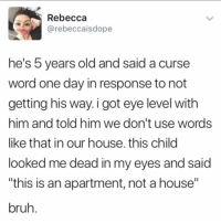 "Bruh, Memes, and House: Rebecca  @rebeccaisdope  he's 5 years old and said a curse  word one day in response to not  getting his way. i got eye level with  him and told him we don't use words  like that in our house. this child  looked me dead in my eyes and said  this is an apartment, not a house""  bruh 😩 Damn"