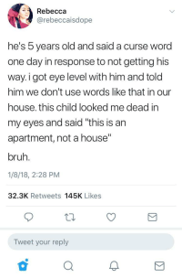 "Blackpeopletwitter, Bruh, and House: Rebecca  @rebeccaisdope  he's b years old and said a curse word  one day in response to not getting his  way.i got eye level with him and told  him we don't use words like that in our  house. this child looked me dead in  my eyes and said ""this is an  apartment, not a house""  bruh.  1/8/18, 2:28 PM  32.3K Retweets 145K Likes  Tweet your reply  2 <p>Little nigga wasn't having any of it (via /r/BlackPeopleTwitter)</p>"