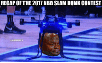 Dunk, Nba, and Slam Dunk: RECAP OF THE 2017 NBA SLAM DUNK CONTEST  @NBAMEMES Describe the dunk contest in one word. Credit: Randy Lau