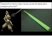 "Sucks from what I've played so far the Nobushi was my favorite player 😂😂😂 forhonor videogames games gamer gamers lol: ""Recent For Honor data mines reveal the Nobushi's  weapon post nerf. Sucks from what I've played so far the Nobushi was my favorite player 😂😂😂 forhonor videogames games gamer gamers lol"