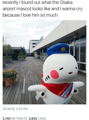 mascot: recently I found out what the Osaka  airport mascot looks like and I wanna cry  because I love him so much  10/19/16, 2:43 PM  2,140 RETWEETS 2,632 LIKES