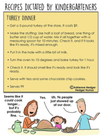 thumb_recipes dictated by kindergarteners turkey dinner get a 5 pound turkey 7248045 25 best how to cook a turkey memes türkeş memes, say grace memes