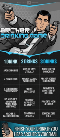 """Drinking, Drunk, and Sex: RECOGHIZE  DESIGN S  aRCHeR  1DRINK 2 DRINKS 3 DRINKS  ARCHER DRINKS ARCHERSAYS ARCHER HITSA  LITERALLY  CO-WORKER  ARCHER SCOLDS  WOODHOUSE  ARCHER DOESN'T  UNDERSTAND  A GUN IS FIRED  A NON-BLEEPED  """"CURSE WORD SPACES OUT  LANA LOSES  ANARTICLEOF  CLOTHING  CHERYL  MS.ARCHERS  A HORRIBLE  PARENTING IS  MENTIONED  SOMEONE  HAVING SEX  (2 PEOPLE)  OR DRUNK  SOMETHING  ARCHER IS  CALLED STERLINGEXPLODES  SOMEONE GETS  FIRED  FINISH YOUR DRINK IF YOU  HEARARCHER'S VOICEMAIL <p>Archer's Perfect Drinking Game.</p>"""
