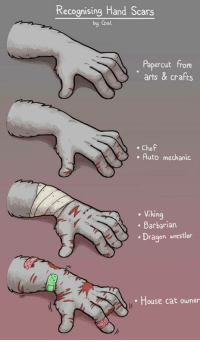 Chef, House, and Mechanic: Recognising Hand Scars  by Coal  Papercut from  arts & crafts  Chef  . Auto mechanic  Viking  Barbarian  Dragon wrestler  House cat owner ~~ Recognizing Hand Scars ~~