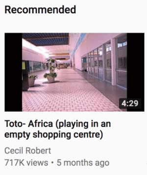 Africa, Target, and Tumblr: Recommended  4:29  7  Toto- Africa (playing in an  Cecil Robert  717K views 5 months ago liquid-skank:I'm not going to lie, I played it and it slaps emotionally and spiritually