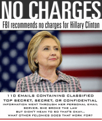 recommends no charges for Hillary Clinton  AP Photo/John Locher  1 1 O E MAILS CONTAINING CLASSIFIED  TO P SECRET, SECRET, OR CONFIDENTIAL  INFORMATION WENT THR OUG H HER PERSONAL EMAIL  SERVER. SHE BROK E THE LAW  BUT DI DNT MEAN TO SO THAT'S OKAY...  WHAT OTHER FELONIES DOES THAT WORK FOR? Fw: THAT CROOKED WITCH (oh boy here they come...)