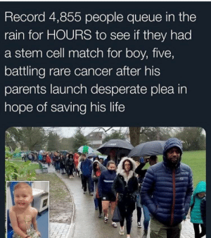 Battling: Record 4,855 people queue in the  rain for HOURS to see if they had  a stem cell match for boy, five,  battling rare cancer after his  parents launch desperate plea in  hope of saving his life
