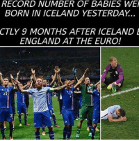 England, Football, and Memes: RECORD NUMBER OF BABIES WE  BORN IN ICELAND YESTERDAY.  CTLY 9 MONTHS AFTER ICELAND E  ENGLAND AT THE EURO! Coincidence?🤔😂 🔺FREE FOOTBALL EMOJI'S ➡️ LINK IN OUR BIO!!!