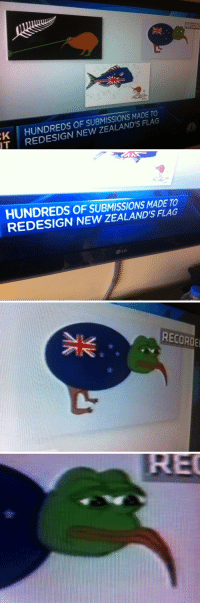 "Meme, Memes, and Pepe the Frog: RECORO  K HUNDREDS OF SUBMISSIONS MADE TO  T REDESIGN NEW ZEALAND'S FLAG   HUNDREDS OF SUBMISSIONS MADE TO  REDESIGN NEW ZEALAND'S FLAG   RECORDE <h2>Sugerencias para rediseñar la bandera neozelandesa</h2><p><a href=""http://knowyourmeme.com/memes/pepe-the-frog"">Pepe es un buen meme para nuevo diseño sí&hellip;</a></p>"