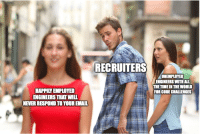 Tech Recruiting: RECRUITERS  UNEMPLOYED  ENGINEERS WITH ALL  THETIME IN THE WORLD  FOR CODE CHALLENGES  HAPPILY EMPLOYED  ENGINEERS THAT WILL  NEVER RESPOND TO YOUR EMAIL Tech Recruiting