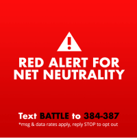 "Internet, Reddit, and Run: RED ALERT FOR  NET NEUTRALITY  Text BATTLE to 384-387  *msg & data rates apply, reply STOP to opt out <p><a href=""https://staff.tumblr.com/post/173724266261/this-is-a-red-alert-for-net-neutrality-last"" class=""tumblr_blog"">staff</a>:</p><blockquote> <h2><b>🚨This is a Red Alert for net neutrality 🚨</b></h2> <p>Last December, the FCC voted to to kill net neutrality. <b>If we do not take action, this will kill the free and open internet as we know it.</b> The internet needs you—all of you—to make sure your voices are heard NOW. </p> <p>We need all hands on deck for this one. It may be our last chance. If you're feeling under-informed and overwhelmed about why net neutrality is so incredibly important, <a href=""https://staff.tumblr.com/post/171348537410/onemorevote"">we have this handy guide just for you</a>. </p> <h2><b>Here's what you can do to save the internet:</b></h2> <ul><li>In mid-May, the Senate will vote on a resolution to overrule the FCC using the Congressional Review Act (CRA). <b>We only need one more vote in the Senate to win.</b> <a href=""https://www.battleforthenet.com/"">Write or call your Senators or Representatives.</a> You can also text BATTLE to 384-387 to get more information on how to write to your reps. You can do this, Tumblr.<br/></li> <li>Join us and dozens of your other favorite companies like <a href=""https://www.etsy.com/"">Etsy</a>, <a href=""https://vimeo.com/"">Vimeo</a>, <a href=""https://www.reddit.com/"">Reddit</a>, and <a href=""https://github.com/"">GitHub</a> to raise awareness with the Red Alert campaign being run by <a href=""https://www.battleforthenet.com/"">Battle for the Net</a>. Just add <a href=""https://www.battleforthenet.com/redalert/"">this small widget</a> to your Tumblr to let your followers know how they can contact their reps. It's as easy as copying and pasting the small line of code right into the <a href=""https://www.tumblr.com/customize/"">customize theme</a> page on the web.<br/></li> </ul><p><b>This is important. This matters. It's up to you to help. </b></p> </blockquote>"