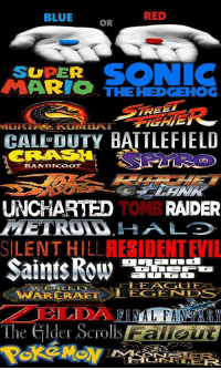 RED  BLUE  OR  SONIC  SUPER  ARIO THE HEDGEHOG  FREE  CALL DUTY BATTLEFIELD  OF  BANDTCOOT  UNCHARTED  TOMB RAIDER  RESIDENTEIL  SILENT HILL  WARCRAFT LEGENDS  The elder Scrolls Do you take the blue pill or the red pill?