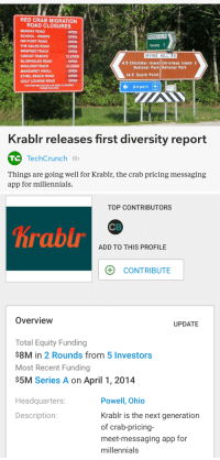 <p>Introducing Krablr</p>  <p>An innovative crab-pricing and messaging app for millennials</p>: RED CRAB MIGRATION  ROAD CLOSURES  MURRAY ROAD  SCHOOL DRIERS  NW POINT ROAD  THE DALES ROAD  WINIFRED TRACK  CIRCUIT TRACKS  BLOWHOLES ROAD  BOULDER TRACK  MARGARET KNOLL  ETHEL BEACH ROAD  GOLF COURSE ROAD  OPEN  OPEN  OPEN  OPEN  OPEN  CLOSED  OPEN  CLOSED  OPEN  OPEN  OPEN  Township 7  RVINE HILL RD  4.5 Christmas Island Christmas Island 3  National Park National Park  14.5 South Point  FOR FURTHER DETAILS ON ROAD CLOSURES  PHONE 9164 8700  I← Airport It  Krablr releases first diversity report  TechCrunch 6h  Things are going well for Krabli, the crab pricing messaging  app for millennials.   TOP CONTRIBUTORS  CB  Krablr  ADD TO THIS PROFILE  CONTRIBUTE  Overview  UPDATE  Total Equity Funding  $8M in 2 Rounds from 5 Investors  Most Recent Funding  S5M Series A on April 1, 2014  Powell, Ohio  Krablr is the next generation  of crab-pricing-  meet-messaging app for  millennials  Headquarters:  Description: <p>Introducing Krablr</p>  <p>An innovative crab-pricing and messaging app for millennials</p>