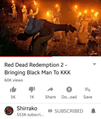 kkk: Red Dead Redemption 2  Bringing Black Man To KKK  60K views  5K  1K Share Do...oad Save  Irrako SUBSCRIBED  553K subscri...