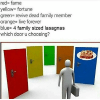 Family, Blue, and Forever: red- fame  yellow fortune  green revive dead family member  orange- live forever  blue- 4 family sized lasagnas  which door u choosing?