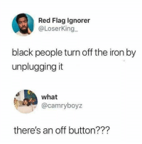 Memes, Black, and Fuck: Red Flag lgnorer  @LoserKing  black people turn off the iron by  unpluggingit  what  @camryboyz  there's an off button??? Holup what the fuck