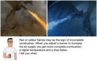 Sent in by Chris Ritzco.: Red or yellow flames may be the sign of incomplete  combustion. When you adjust a burner to increase  the air supply you get more complete combustion,  a higher temperature and a blue flame.  I tell you what. Sent in by Chris Ritzco.