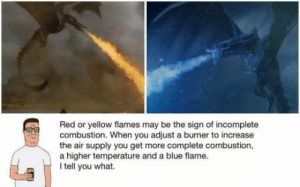 Dragon Approved: Red or yellow flames may be the sign of incomplete  combustion. When you adjust a burner to increase  the air supply you get more complete combustion,  a higher temperature and a blue flame.  I tell you what. Dragon Approved