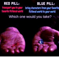 ~ Vyrae: RED PILL:  BLUE PILL:  transport you to your  bring characters from your favorite  favorite fictional world fictional world to your world  Which one would you take? ~ Vyrae