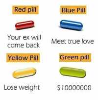 red pill blue pill: Red pill  Blue Pill  Your ex will  come back  Meet true love  Yellow Pill  Green pil  Lose weight $10000000