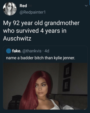 Good grandma: Red TM  @Redpainter1  My 92 year old grandmother  who survived 4 years in  Auschwitz  fake. @thankvis 4d  name a badder bitch than kylie jenner. Good grandma