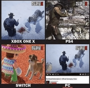 Dank, Memes, and Ps4: RED  XBOX ONE X  PS4  RED  Red Oead Redamption 2:Officisl Gameptay Video  SWITCH  PC sad but true by Alexander_Mark MORE MEMES