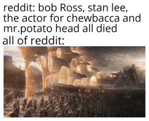Chewbacca, Head, and Reddit: reddit: bob Ross, stan lee,  the actor for chewbacca and  mr.potato head all died  all of reddit: May they rest in peace