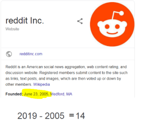 News, Reddit, and Wikipedia: reddit Inc.  Website  redditinc.com  Reddit is an American social news aggregation, web content rating, and  discussion website. Registered members submit content to the site such  as links, text posts, and images, which are then voted up or down by  other members. Wikipedia  Founded: June 23, 2005, Medford, MA  2019 2005=14  V Reddit is 14 wow