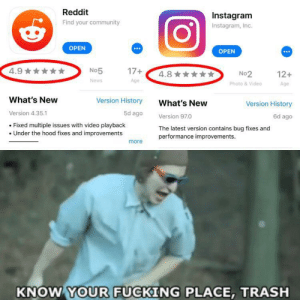 Community, Dank, and Fucking: Reddit  Instagram  Find your community  Instagram, Inc.  OPEN  OPEN  4.9  17+  No5  4.8  No2  Photo &Video  12+  News  Age  Age  What's New  Version History  What's New  Version History  Version 4.35.1  5d ago  Version 97.0  Fixed multiple issues with video playback  Under the hood fixes and improvements  The latest version contains bug fixes and  performance improvements.  more  KNOW YOUR FUCKING PLACE, TRASH Steal this normies by reno1211 MORE MEMES