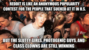 Girls, Reddit, and Clowns: REDDIT IS LIKE AN ANONYMOUS POPULARITY  CONTEST FOR THE PEOPLE THAT SUCKED AT IT IN H.S.  B  BUT THE SLUTTY GIRLS, PHOTOGENIC GUYS, AND  CLASS CLOWNS ARE STILL WINNING  quickmeme.com Luck.Letsy.Plastic.