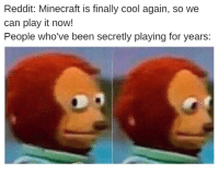 Just admit it.: Reddit: Minecraft is finally cool again, so we  can play it now!  People who've been secretly playing for years: Just admit it.
