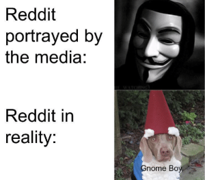 Gnome Boy by AlexAKAStubby MORE MEMES: Reddit  portrayed by  the media:  Reddit in  reality:  nome Boy Gnome Boy by AlexAKAStubby MORE MEMES
