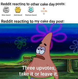 me_irl by Needle_Pig MORE MEMES: Reddit reacting to other cake day posts:  reddit  Silvar  12.3k  Gold Award  Silver Award  Platinum Award  Reddit reacting to my cake day post:  Three upvotes,  take it or leave it. me_irl by Needle_Pig MORE MEMES